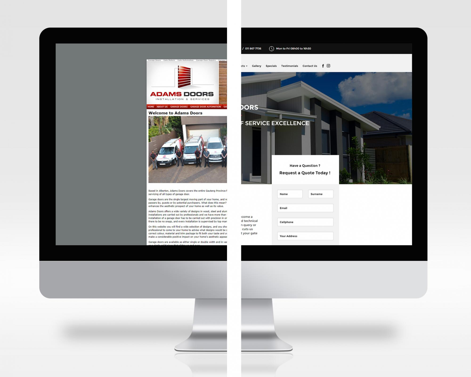 garage door website design comparison